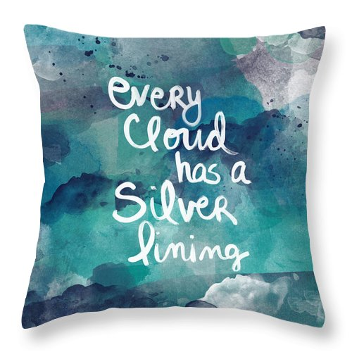 Cloud Throw Pillow featuring the painting Every Cloud by Linda Woods