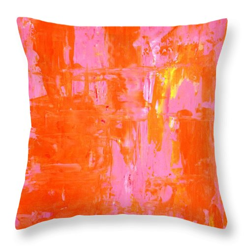 Abstract Throw Pillow featuring the painting Everyone's Fav - Pink And Orange Abstract Art Painting by CarolLynn Tice