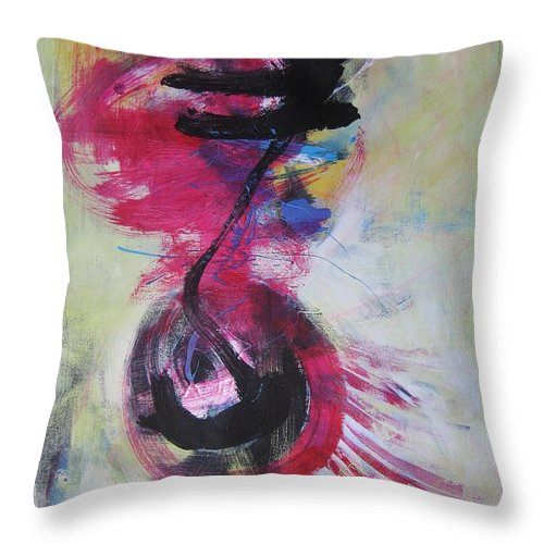 Abstract Paintings Red Paintings Throw Pillow featuring the painting Everything A Mistake-abstract Red Painting by Seon-Jeong Kim