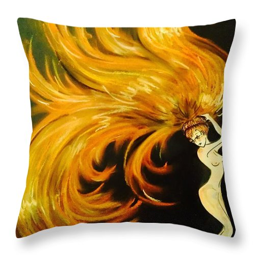 Redhead Throw Pillow featuring the drawing Everything Is Burning by Summer Porter