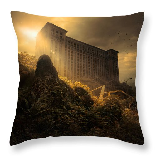 City Ruins Apocalypse Building Architecture Landscape Wreck Car Rust Plants Bush Sky Sun Beams Birds Clouds Abandoned Throw Pillow featuring the photograph Everything Must Perish by Michal Karcz