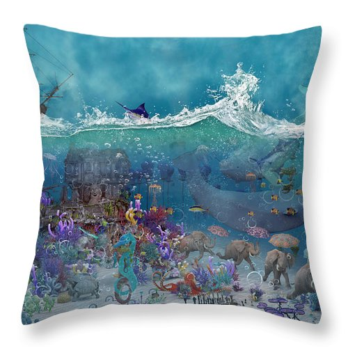 3d Throw Pillow featuring the digital art Everything Under The Sea by Betsy Knapp