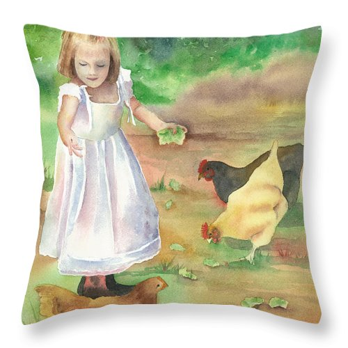 Girl Throw Pillow featuring the painting Evie by Beth Fontenot
