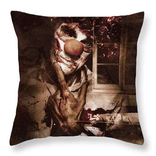 Clown Throw Pillow featuring the digital art Evil Clown Musing With Scary Expression by Jorgo Photography - Wall Art Gallery