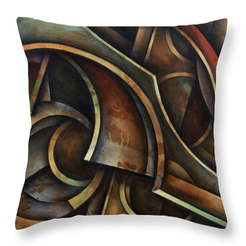 Abstract Painting Throw Pillow featuring the painting Evolution by Michael Lang