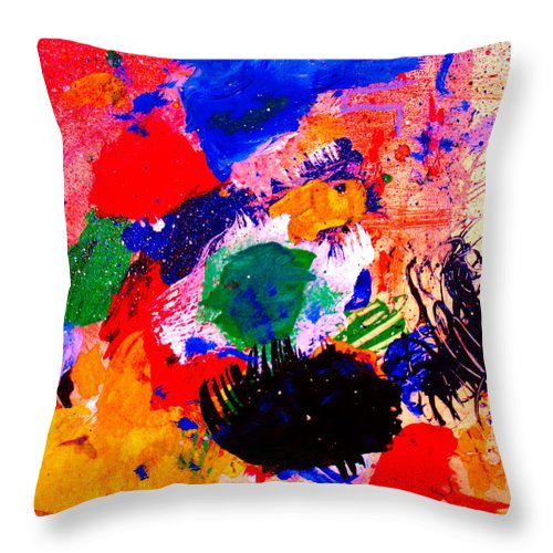 Abstract Throw Pillow featuring the painting Evolving Evolution by Natalie Holland