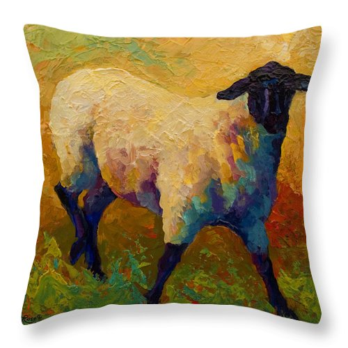 Sheep Throw Pillow featuring the painting Ewe Portrait Iv by Marion Rose