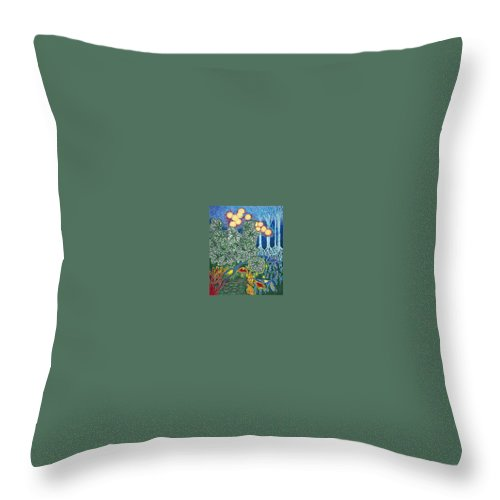 Art Throw Pillow featuring the drawing Exciting Harmony Art Prints And Gifts Autumn Leaves Botanical Garden Park Plants by Baslee Troutman