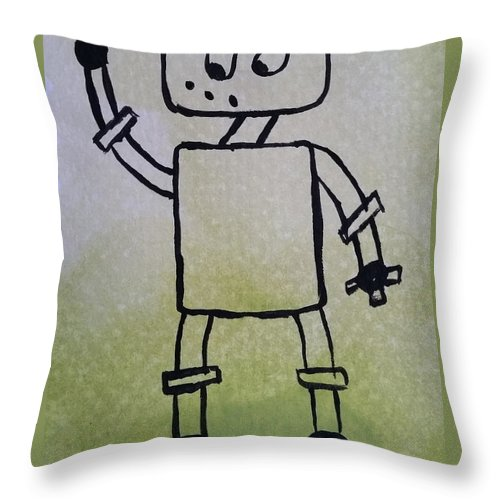 Green Throw Pillow featuring the painting Excused by Kelly Brimberry
