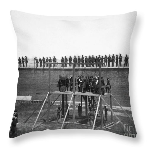 1865 Throw Pillow featuring the photograph Execution Of Conspirators by Granger