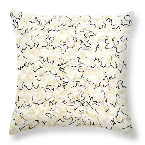 Calligraphy Throw Pillow featuring the drawing Executive Summary with Notes by Dave Martsolf