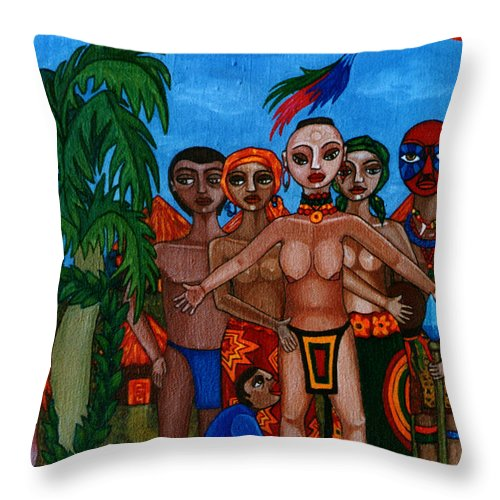 Homeland Throw Pillow featuring the painting Exiled In Homeland by Madalena Lobao-Tello