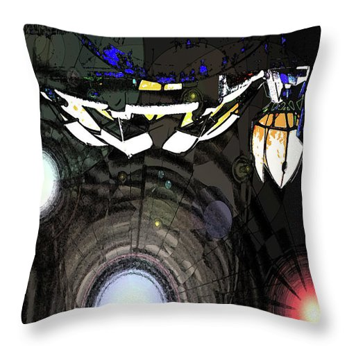 Abstract Throw Pillow featuring the digital art Exiting The Mother Ship by DigiArt Diaries by Vicky B Fuller