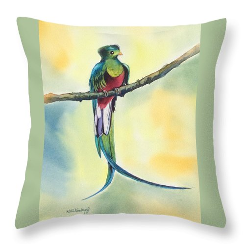 Bird Throw Pillow featuring the painting Exotic Bird by Hilda Vandergriff
