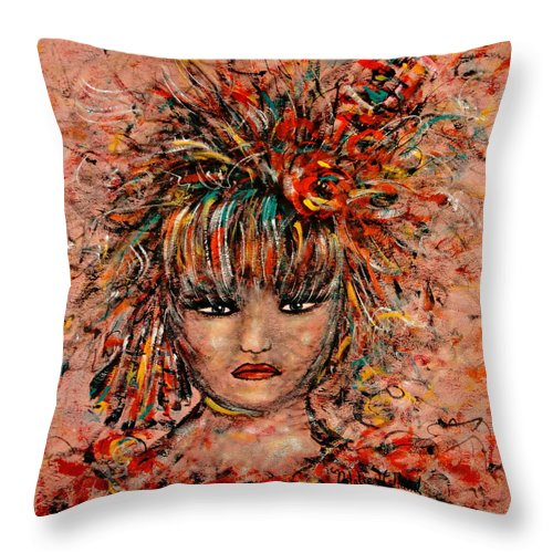 Exotic Dancer Throw Pillow featuring the painting Exotic Dancer by Natalie Holland