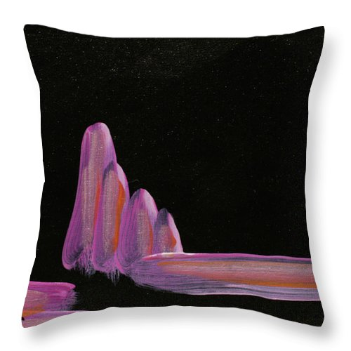 Abstract Landscape Throw Pillow featuring the painting Expectation by Kathleen Sandoval