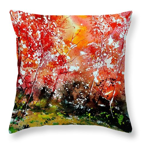 Nature Throw Pillow featuring the painting Exploding Nature by Pol Ledent