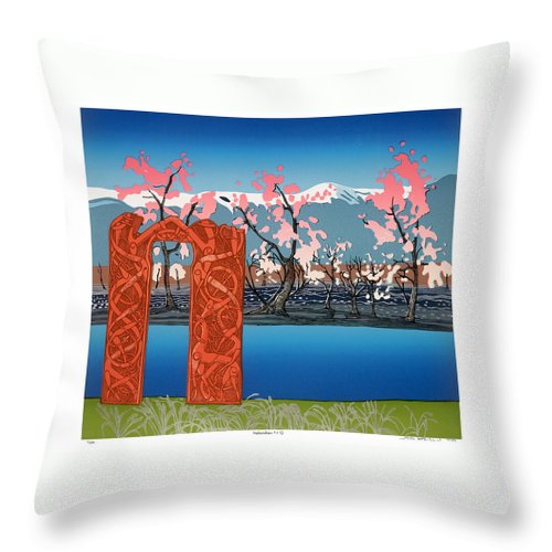 Landscape Throw Pillow featuring the mixed media Exploration. by Jarle Rosseland