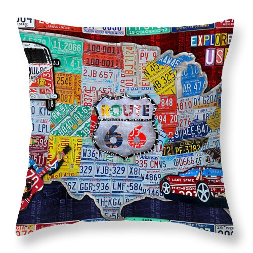 Explore The Usa License Plate Art And Map Travel Collage Throw