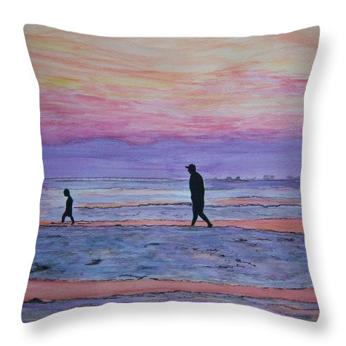 Twilight Throw Pillow featuring the painting Exploring by Nancy Nuce