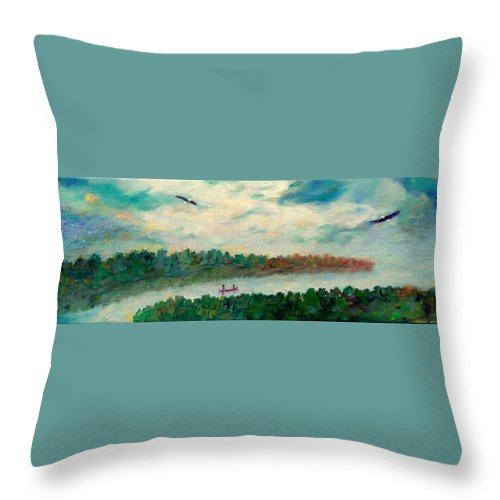 Canoeing On The Big Canadian Lakes Throw Pillow featuring the painting Exploring Our Lake by Naomi Gerrard