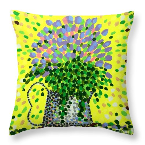 Flowers Throw Pillow featuring the painting Explosive Flowers by Alan Hogan