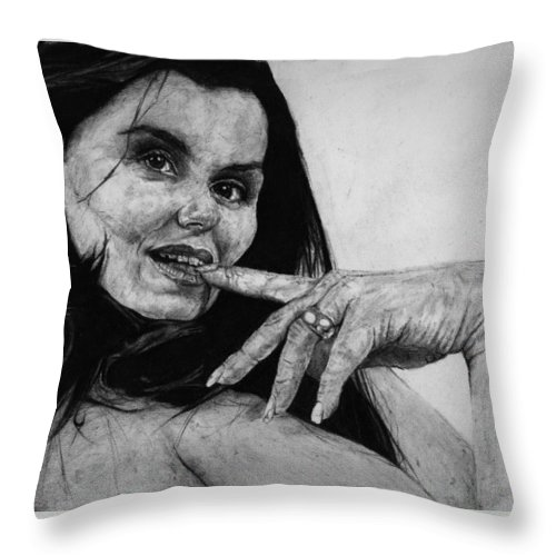 Expression Woman Charcoal Life Naked Beautiful Female Grayscale Flower Lady Beautiful Throw Pillow featuring the drawing Entice by Priscilla Vogelbacher