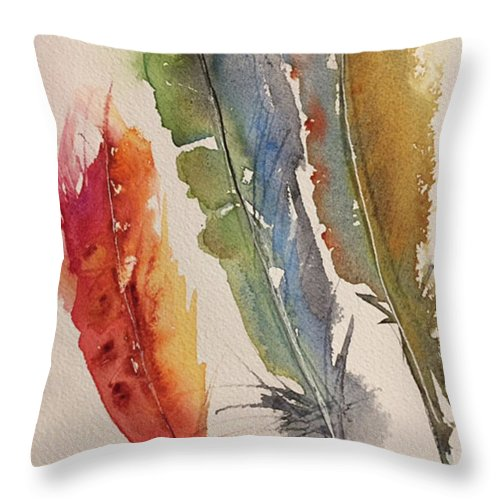 Feathers Throw Pillow featuring the painting Feather Expressions by Bonny Butler