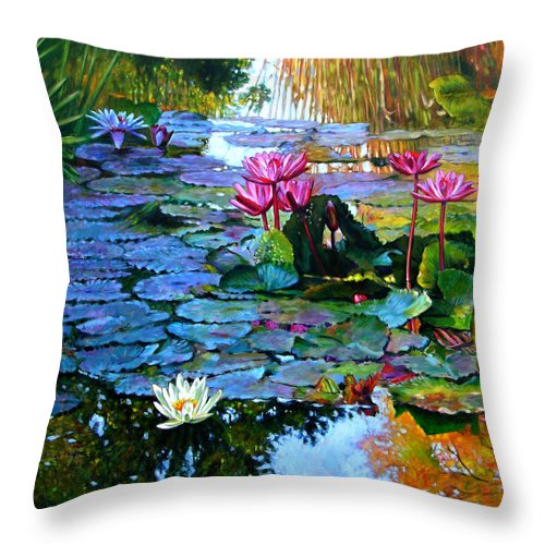 Landscape Throw Pillow featuring the painting Expressions From The Garden by John Lautermilch