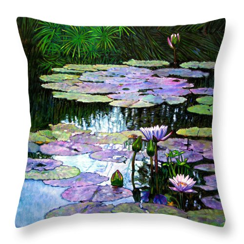 Landscape Throw Pillow featuring the painting Expressions of Love and Peace by John Lautermilch