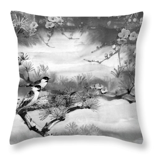Chinese Painting Throw Pillow featuring the painting Expressions Of Spring by Eileen Fong
