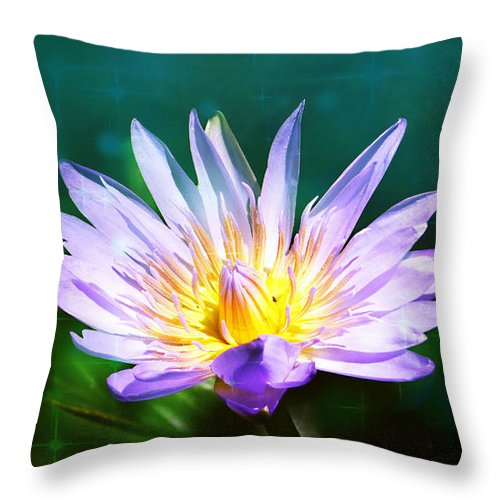 Exquisite Waterlily Throw Pillow featuring the mixed media Exquisite Waterlily by Trudee Hunter