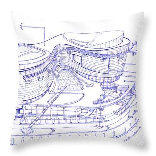 Exterior Sketch Of A Shopping Mall Concept Throw Pillow
