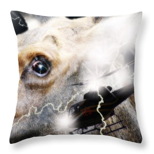 Threatened Throw Pillow featuring the digital art Extreme Fear by Cathy Beharriell