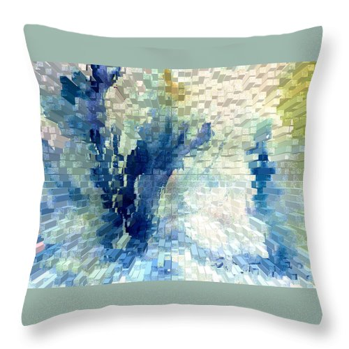 Abstract Throw Pillow featuring the painting Extrude by Steve Karol