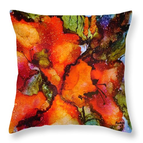 Orange Throw Pillow featuring the painting Exuberance by Susan Kubes