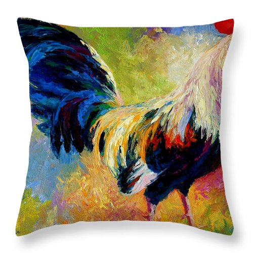 Rooster Throw Pillow featuring the painting Eye Candy by Marion Rose