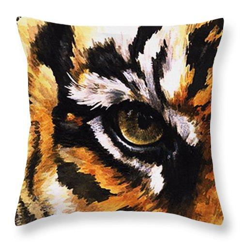Feline Throw Pillow featuring the mixed media Sumatran Tiger Glare by Barbara Keith