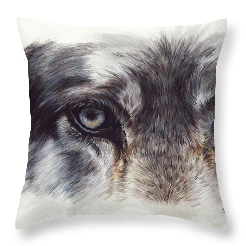 Wolf Throw Pillow featuring the painting Eye-catching Wolf by Barbara Keith