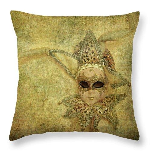 Mardi Gras Mask Throw Pillow featuring the photograph Eye Contact by Eena Bo