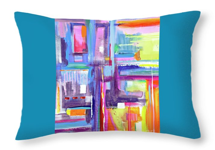 A Scape. New Series Begins Here.and The Title Eyedropper Throw Pillow featuring the painting Eye Dropper by Priscilla Batzell Expressionist Art Studio Gallery