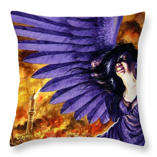 Political Commentary Throw Pillow featuring the painting Eye For An Eye by Ken Meyer