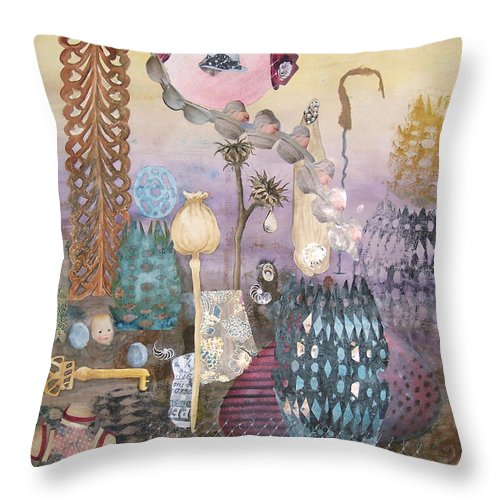 Abstract Throw Pillow featuring the painting Eye Has It by Valerie Meotti