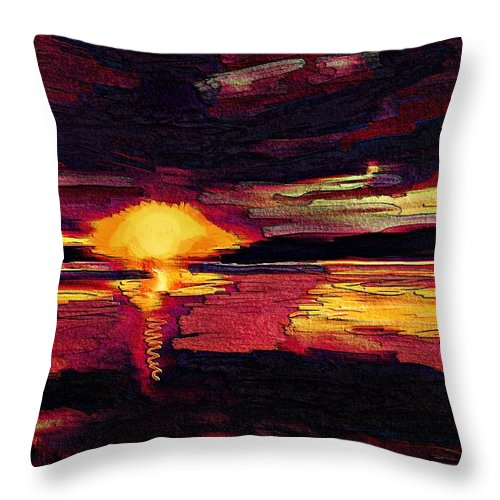 Sky Throw Pillow featuring the painting Eye In The Sky Sunset Art by Karen Harding