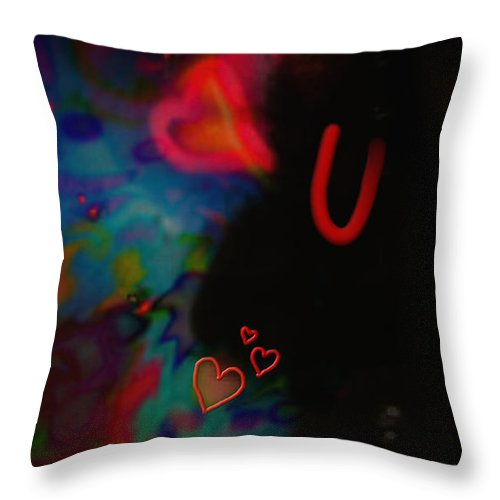 Hearts Throw Pillow featuring the mixed media Eye Love U by Kevin Caudill