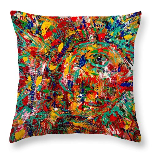 Abstract Throw Pillow featuring the painting Eye Of The Beholder by Natalie Holland