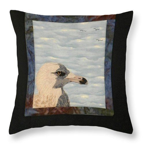 Birds Throw Pillow featuring the tapestry - textile Eye Of The Gull by Jenny Williams