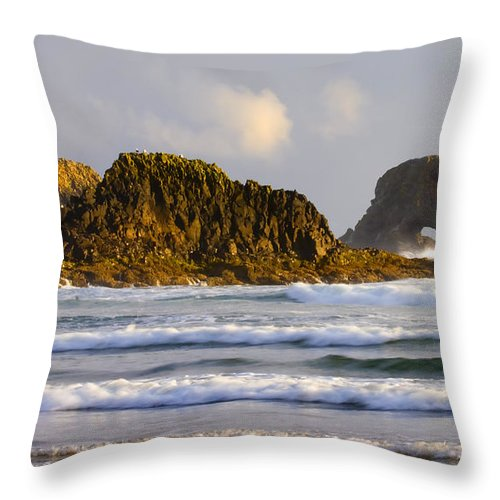 Seastacks Throw Pillow featuring the photograph Eye Of The Storm by Mike Dawson