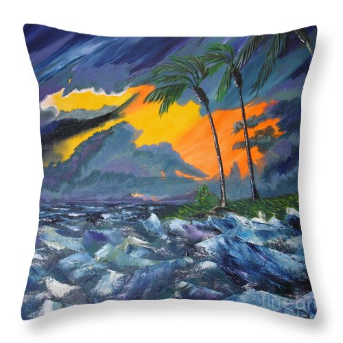 Knifework Throw Pillow featuring the painting Eye Of The Storm by Susan Kubes