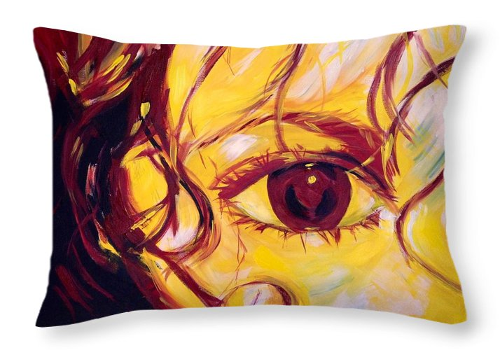 Portrait Throw Pillow featuring the painting Eye Of The Tiger by Judy Swerlick
